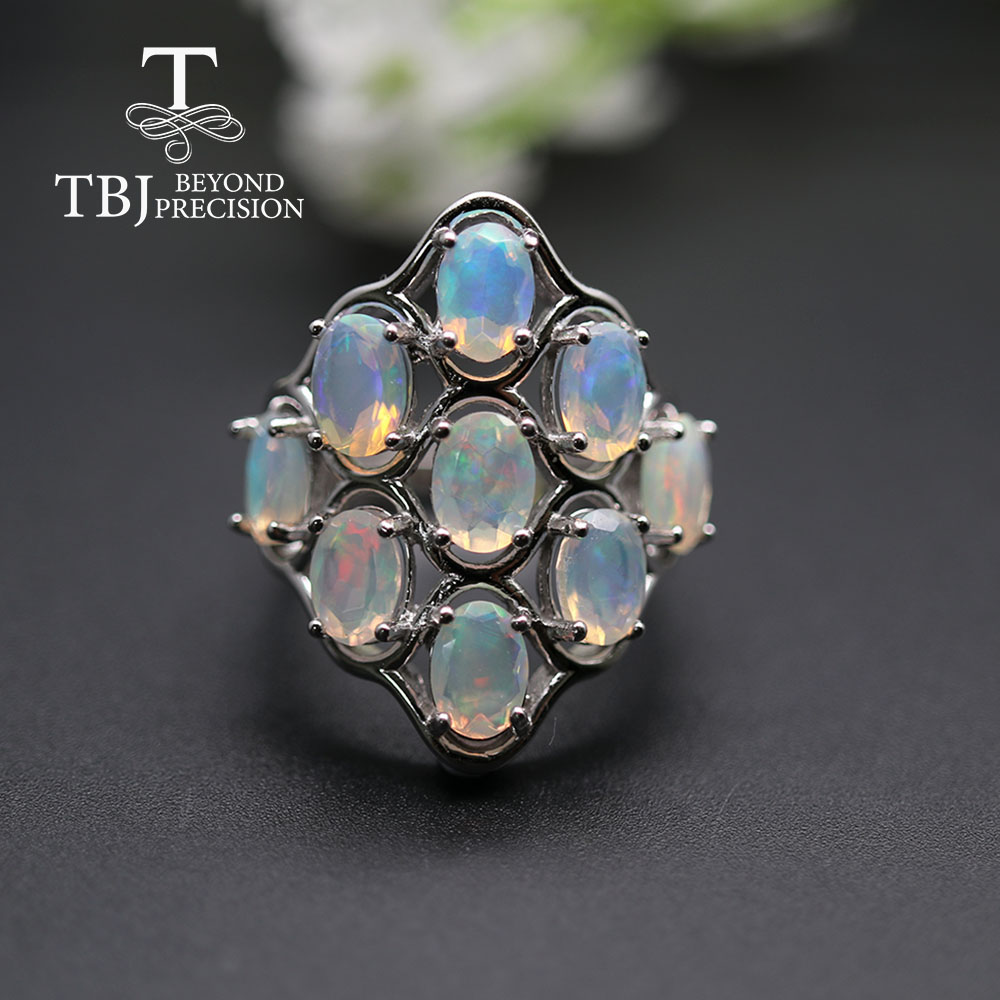 Grand coloré opale femmes anneau pierres précieuses naturelles bijoux fins 925 en argent sterling pour les femmes anniversaire fête cadeau tbj promotion