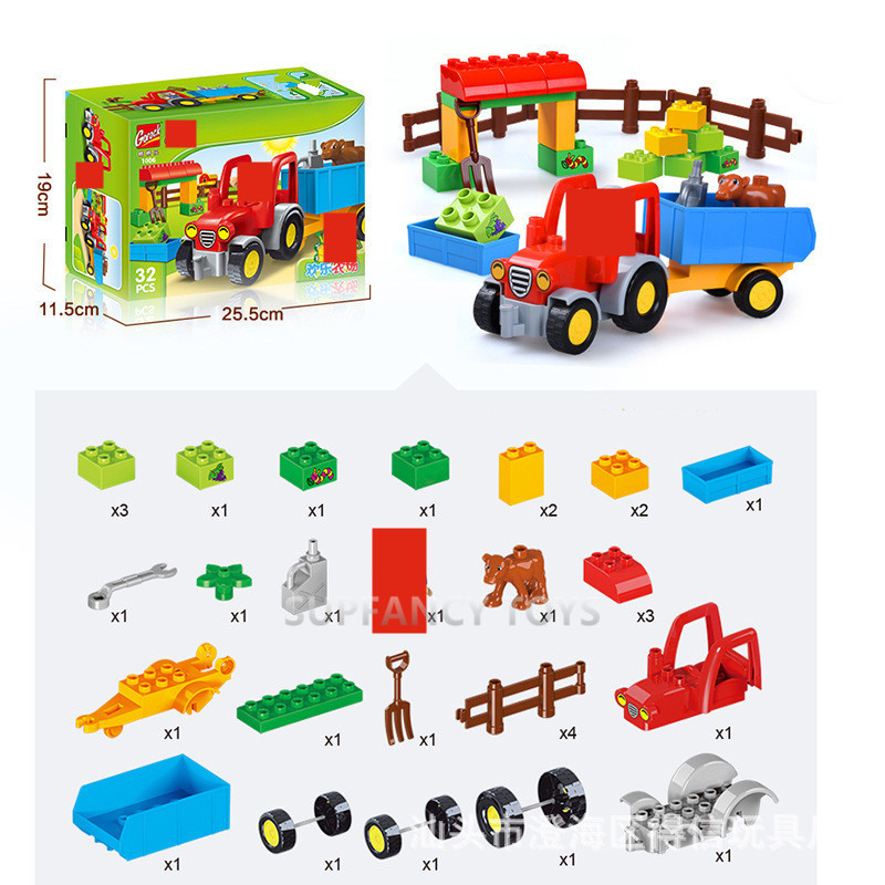 Happy Farm Big Size Building Blocks Sets Happy Zoo Animals City Toys For Children Kids LegoINGs Duplo DIY Bricks Christmas Gifts in Blocks from Toys Hobbies