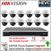 Hikvision 16CH HD POE NVR Kit 12PCS CCTV Security System Dome Outdoor IP Camera IR Night Vision Surveillance Set DS-2CD2363G0-I