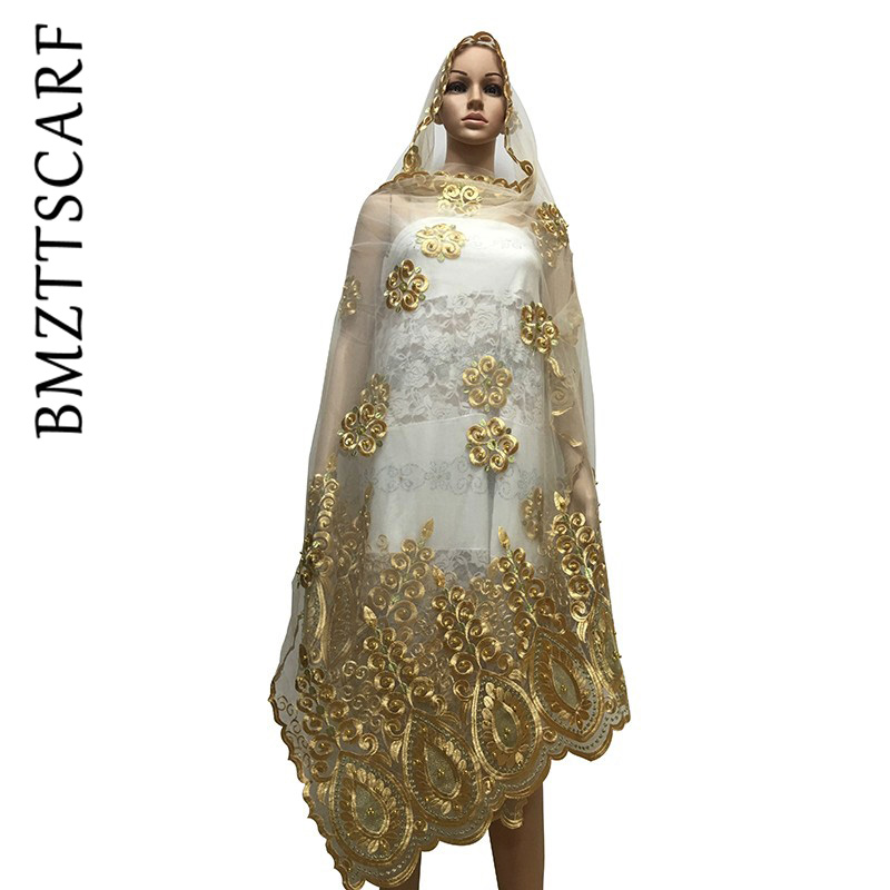 African Women Scarf Muslim Embroidery Net Scarf With Beads Hijab Scarf Big Size Scarf For Shawls BM651