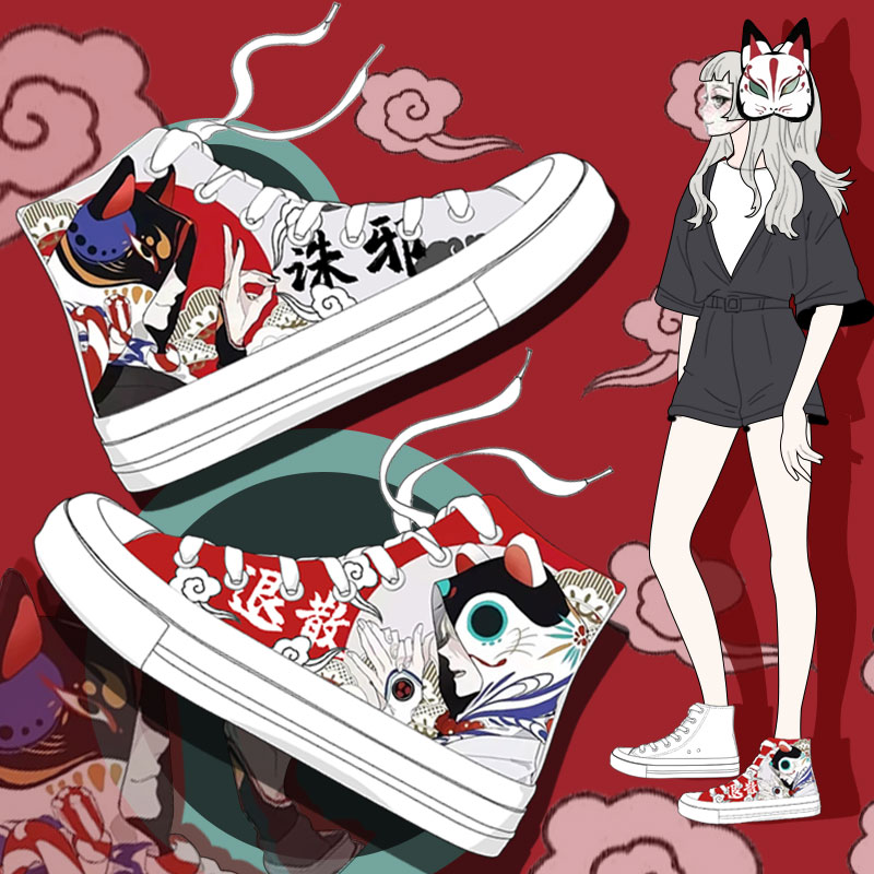 2020 Spring New Style Women Vulcanized Shoes Ladies Casual High Top White Sneakers Special Designer Hand Painted Canvas Shoes