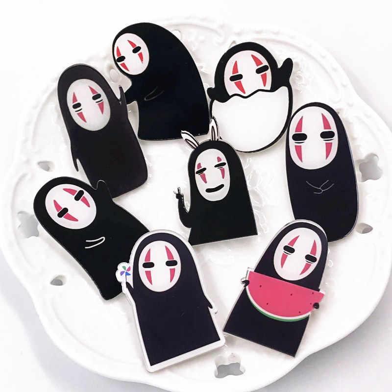 1Pcs Nenhum Homem Rosto Japonês Broches Emblema Etiqueta Dos Desenhos Animados Bolsas Roupas Ícone Para Miúdos Das Mulheres Pinos Crianças Presente Da Moda