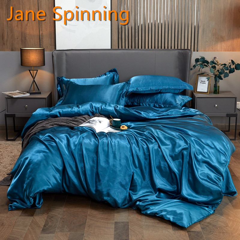 2021NEW Silk Bedding Set Twin Queen King Size Satin Duvet Cover Sets High-End Solid Color Bed Cover Set 3Pcs/4pcs DD08#