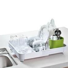 1 Piece of Kitchen Floor Drain Dish Rack Tableware Drain Rack Storage Rack Dish Dryer Kitchen Organizer Water Cup and Lid Rack