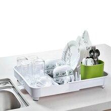 1 قطعة من المطبخ الطابق استنزاف طبق رف أدوات المائدة استنزاف رف تخزين الرف طبق مجفف منظم مطبخ كوب الماء و غطاء رف