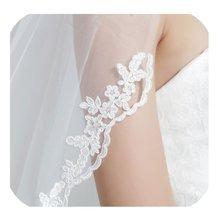 """Свадебная Фата с расческой, 1 слой, кружевная кромка, длина кончика пальца 36 """", свадебная фата, свадебные аксессуары, фата цвета слоновой кости"""