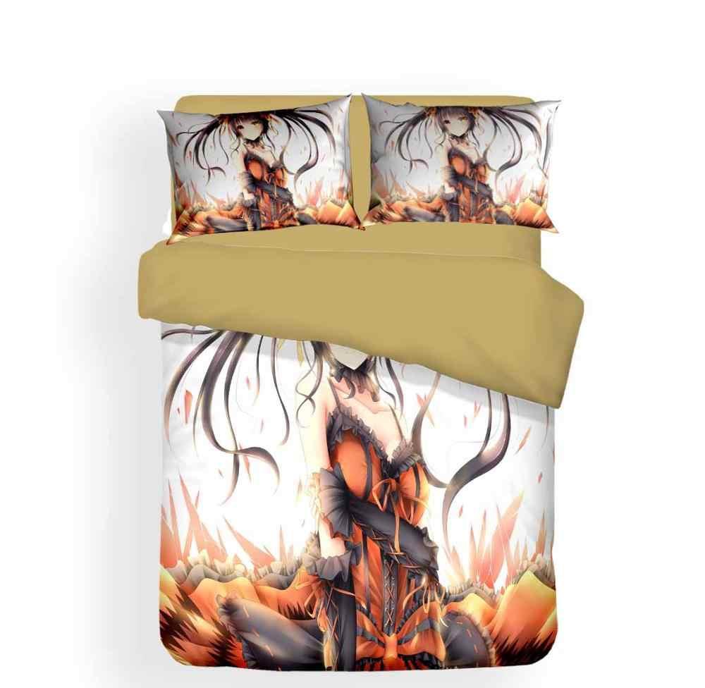 Anime komplet pościeli dla dziewczynki 3D druku pościel zestaw poszewka na poduszkę Twin pełna królowa narzuta na kołdrę w rozmiarze king zestaw 2/3 sztuk pościel tekstylia domowe