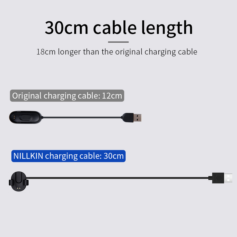 Image 3 - Charger For Xiaomi Mi Smart Band 4 Miband 4 global Charging Cable NILLKIN USB 30cm charger Cable for xiaomi band 4-in Mobile Phone Chargers from Cellphones & Telecommunications
