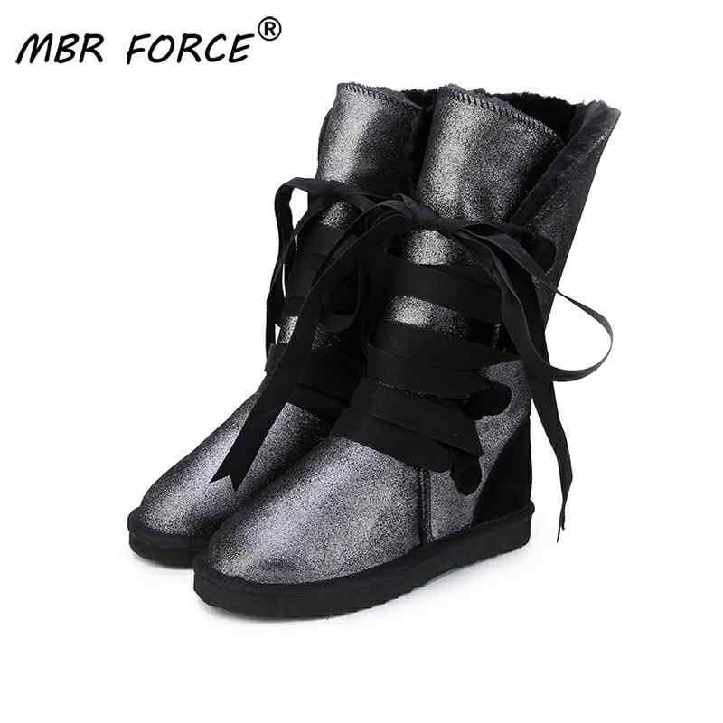 MBR LỰC LƯỢNG Mới Chất Lượng Cao Chống Nước Cổ Điển Ủng Da Thật Chính Hãng Da Lông Thú Giày Bốt Nữ Thời Trang Mùa Đông Ấm Áp Giày HOA KỲ 3-13