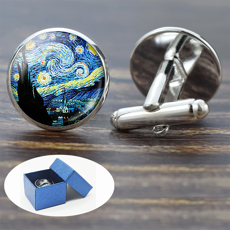 Personality Van Gogh Oil Painting Glass Alloy Cufflinks Starry Night Sunflower Silver Suit Cuff Links Men Shirt Accessories Gift