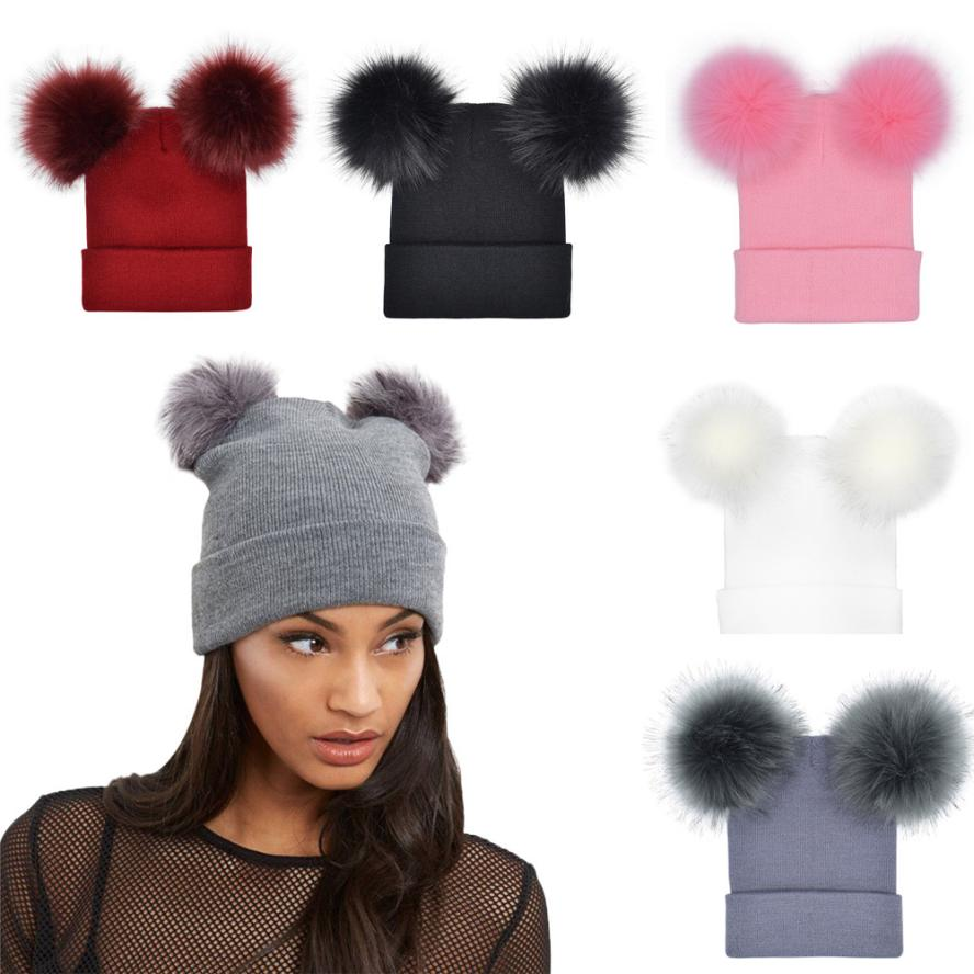 2019 Autumn New Women Faux Fur Pompom Hat Female Winter Warm Cap Knitted Beanie Girl Double Ball Pom Pom Hats Woman Bonnet Femme