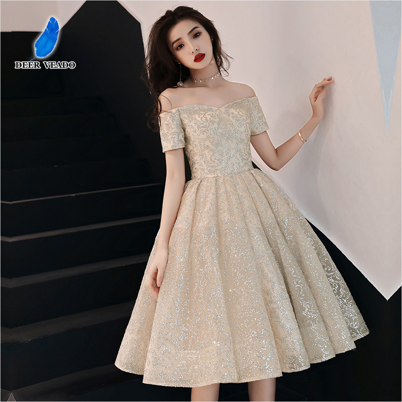 DEERVEADO XYG836 Sexy Short Prom Dresses 2020 A Line Lace Up Special Occasion Party Dresses Prom Gown