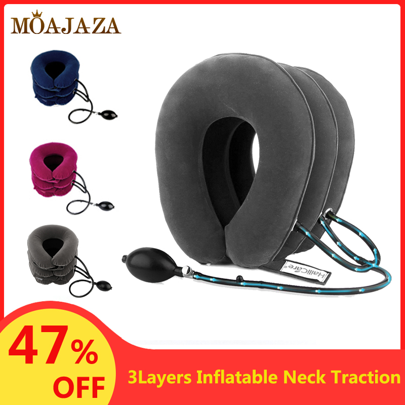 Inflatable Air Cervical Neck Traction Device Soft Orthopedic Pillow Pain Stress Relief Neck Stretching Neck Collar Support Brace(China)