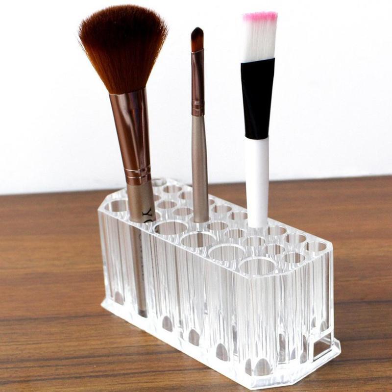 26 buracos titular da escova de maquiagem para as mulheres com acrilico transparente caixa de armazenamento