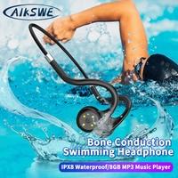 AIKSWE Knochenleitung Schwimmen Kopfhörer Drahtlose Bluetooth Kopfhörer 8GB IPX8 Wasserdichte MP3 Musik Player Tauchen Sport Headset