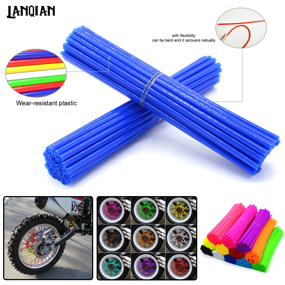 Universal 72 PC Motorcycle Dirt Bike Wheel Spoke Skins For <font><b>Yamaha</b></font> YZ WR TTR <font><b>XT</b></font> DT 80 85 125 230 250 426 450 <font><b>600</b></font> F FX X <font><b>Parts</b></font> image