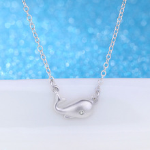 925 Sterling Silver Whale Love Necklace Fashion Little Whale Pendant Fine Jewelry For Women Party Elegant Accessories