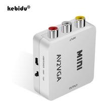 Conversor de vídeo kebidu para pc, conversor de áudio 3.5mm para pc e hdtv av2vga adaptador conversor de vídeo