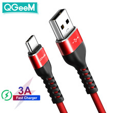 Qgeem usb tipo c cabo USB-C do telefone móvel de carregamento rápido carregador usb cabo para samsung galaxy s9 huawei companheiro 20 xiaomi usb tipo-c