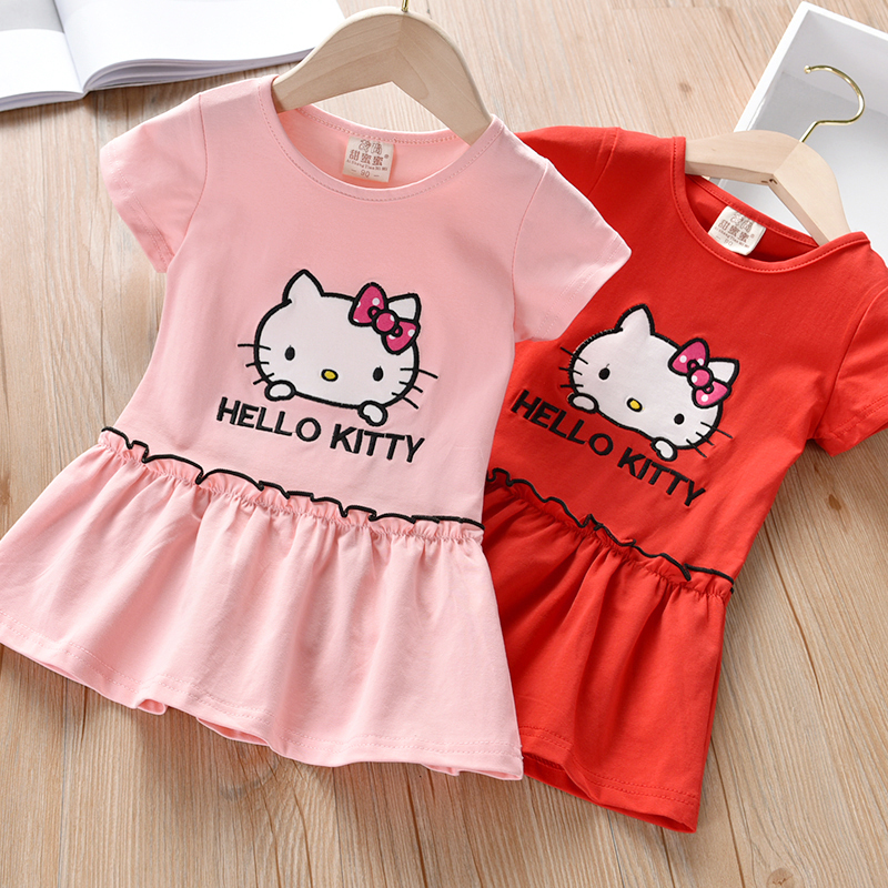 Kids Hello Kitty Dress Summer Princess Party Short Sleeve Children Girls Dress Red Toddler Clothes Rabbit Cotton Ruched Fashion