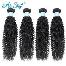 Alisky Hair – tissage en lot brésilien naturel Remy crépu bouclé Afro, Extensions de cheveux humains, 1/3/4 pièces