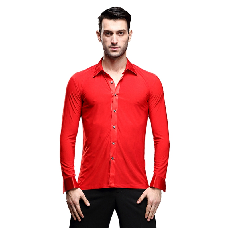 Image 3 - Hot Selling Dancewear Mens Dance Shirt Breathable Latin Dance Clothes Comfortable Stage Wear Ballroom Competition ClothingBallroom   -