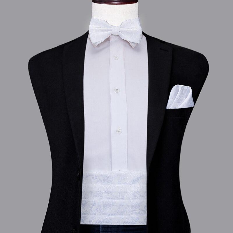 YF-2013 Hi-Tie Luxury Silk Men's Formal Wedding Party Floral Cummerbund Bow Tie Hanky Cufflinks Set Tuxedo White Cummerbunds