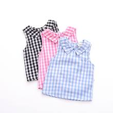 Summer Baby Girls Pure Cotton Plaid Vest Waistcoat GIRL'S Blouse Japanese Korean Foreign Trade Kid's Sleeveless Shirt AliExpre(China)