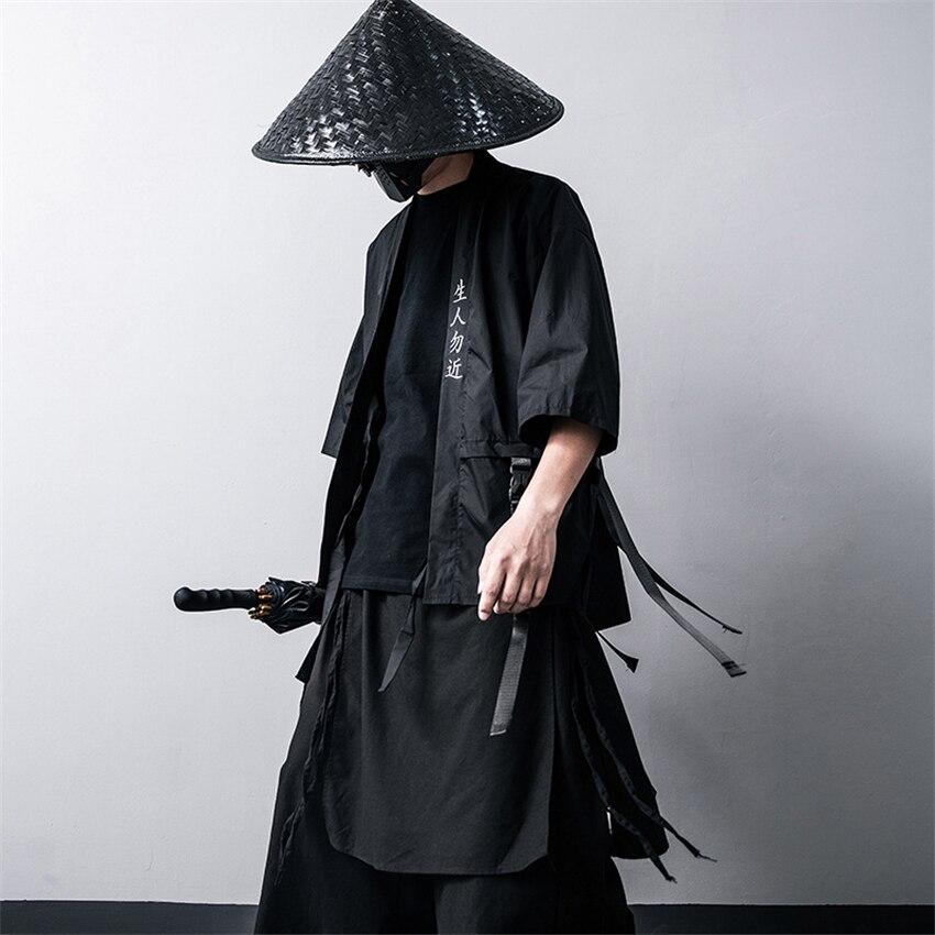 Japanischen Traditionellen Kimono Strickjacke Schwarz Baumwolle Mode Bühne Haori Samurai Cosplay Kostüme Chinesischen Stil Mantel Streetwear