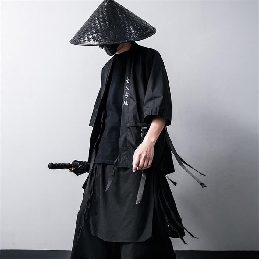 Kimono tradicional japonés cárdigan negro algodón moda escenario Haori Samurai Cosplay disfraces estilo chino abrigo Streetwear