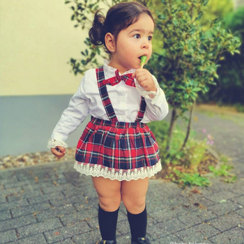 2020 fall winter girls Toddler Christmas Clothing Set Ruffles Tops plaid skirt Xmas costumes girls boutique christmas outfit H55