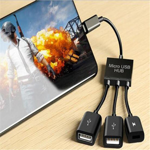 OTG USB 2.0 Pubg Controller 3 Port Type-C Connector OTG Hub Cable Eat chicken game for Computer Tablet PC Data USB Cable(China)
