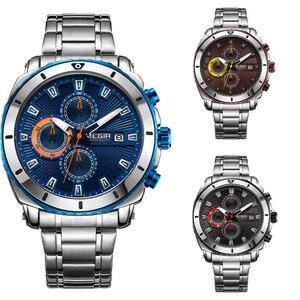 Image 5 - Megir 高品質メンズクロノグラフ腕時計のためのブルーステンレス鋼 Bracelete スポーツ腕時計ボーイのストップウォッチ