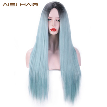 цены на AISI HAIR Ombre Black to Blue Wig Long Silky Straight Synthetic Hair Wigs for Black Women Natural Middle Part Hair Cosplay Wigs  в интернет-магазинах