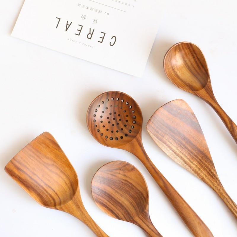 1 шт. натуральная деревянная посуда ложка ковш Тернер длинный дуршлаг для риса суп скиммер кухонные ложки мерная ложка, кухонная утварь набор