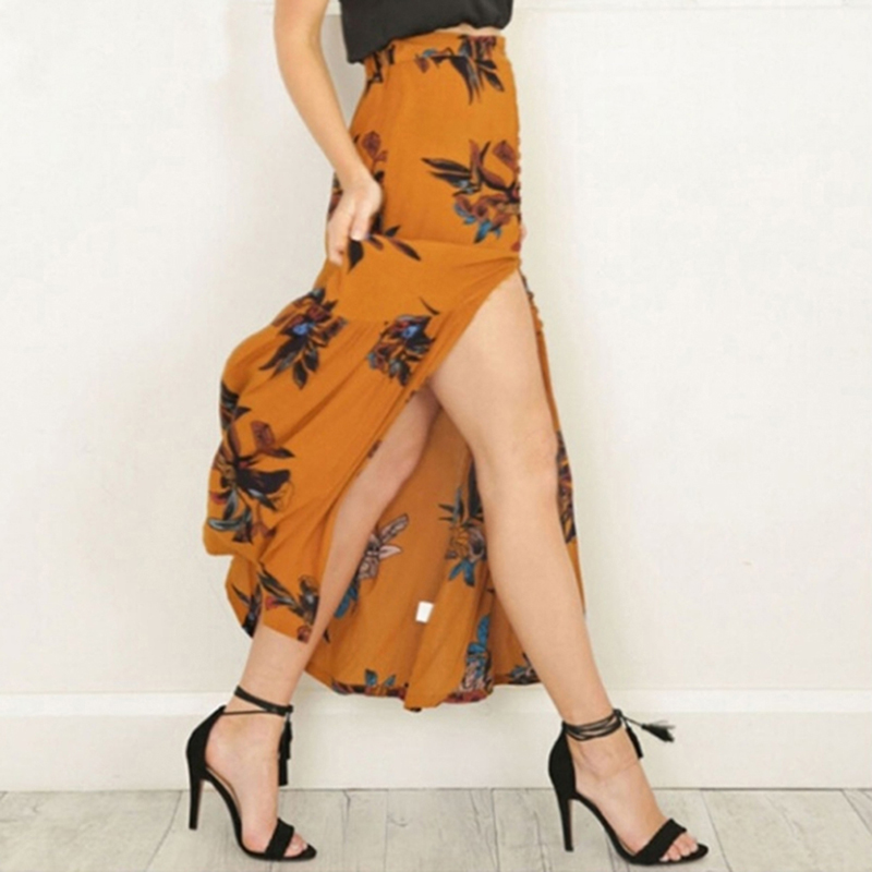 High Waist Boho Print Long Skirt Women Split Maxi Skirt Floral Fashion Beach Skirt Female Chic Vintage 2020 Summer Skirt