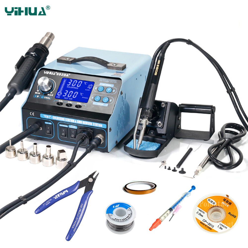 YIHUA 992DA  BGA Soldering Station Repair Board Rework Station Soldering With Hot Air gun Soldering Iron Smoke Vacuum 110V 220V