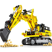 841Pcs City Construction Engineering Dump Bulldozer Crane Excavator Digger Brinquedos Technic Building Blocks Bricks Kids Toys new sembo block engineering city construction container truck fit technic building blocks toys bricks toys for children kid gift