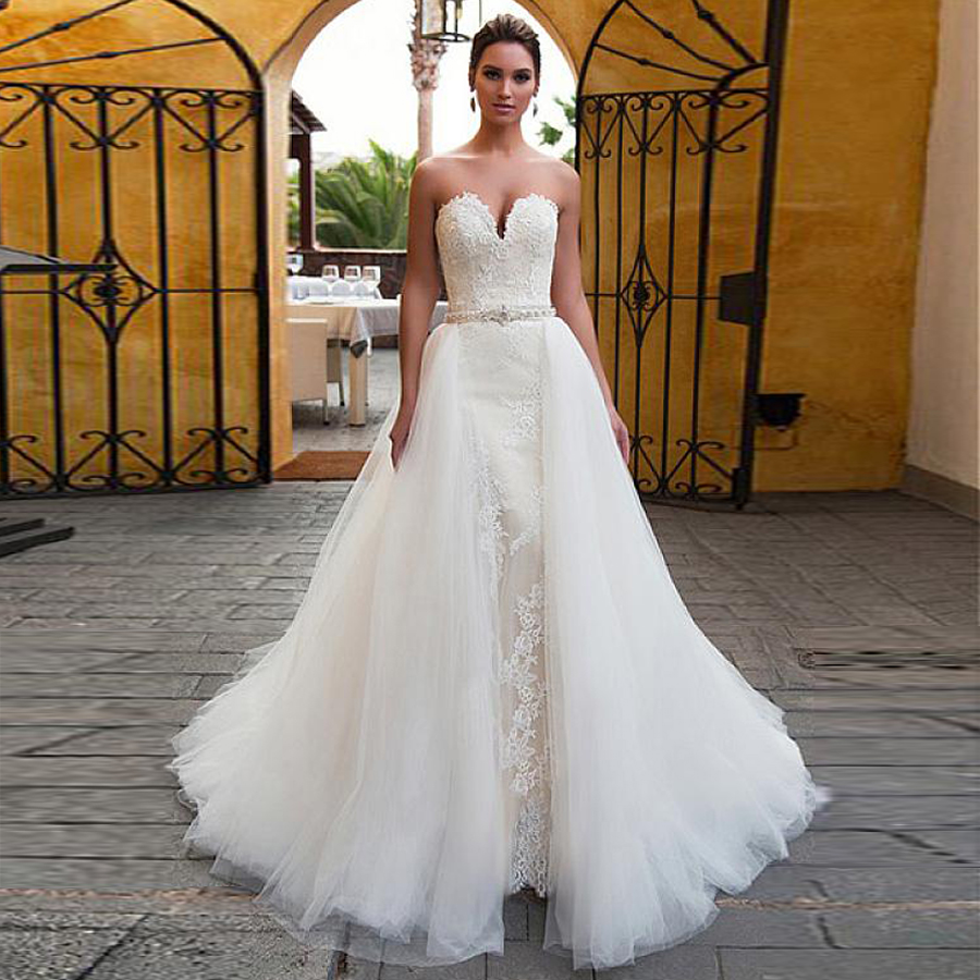 Fascinating Tulle Sweetheart Neckline 2 In 1 Mermaid Wedding Dress With Detachable Skirt Beading Belt Two Pieces Bridal Gowns