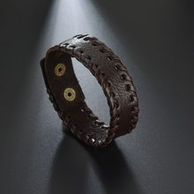 "2019 Rushed Pulseiras New Fashion In Europe And The Leather Bracelet With Drilling Buckle Braided Cord Bracelet"" Male Money(China)"