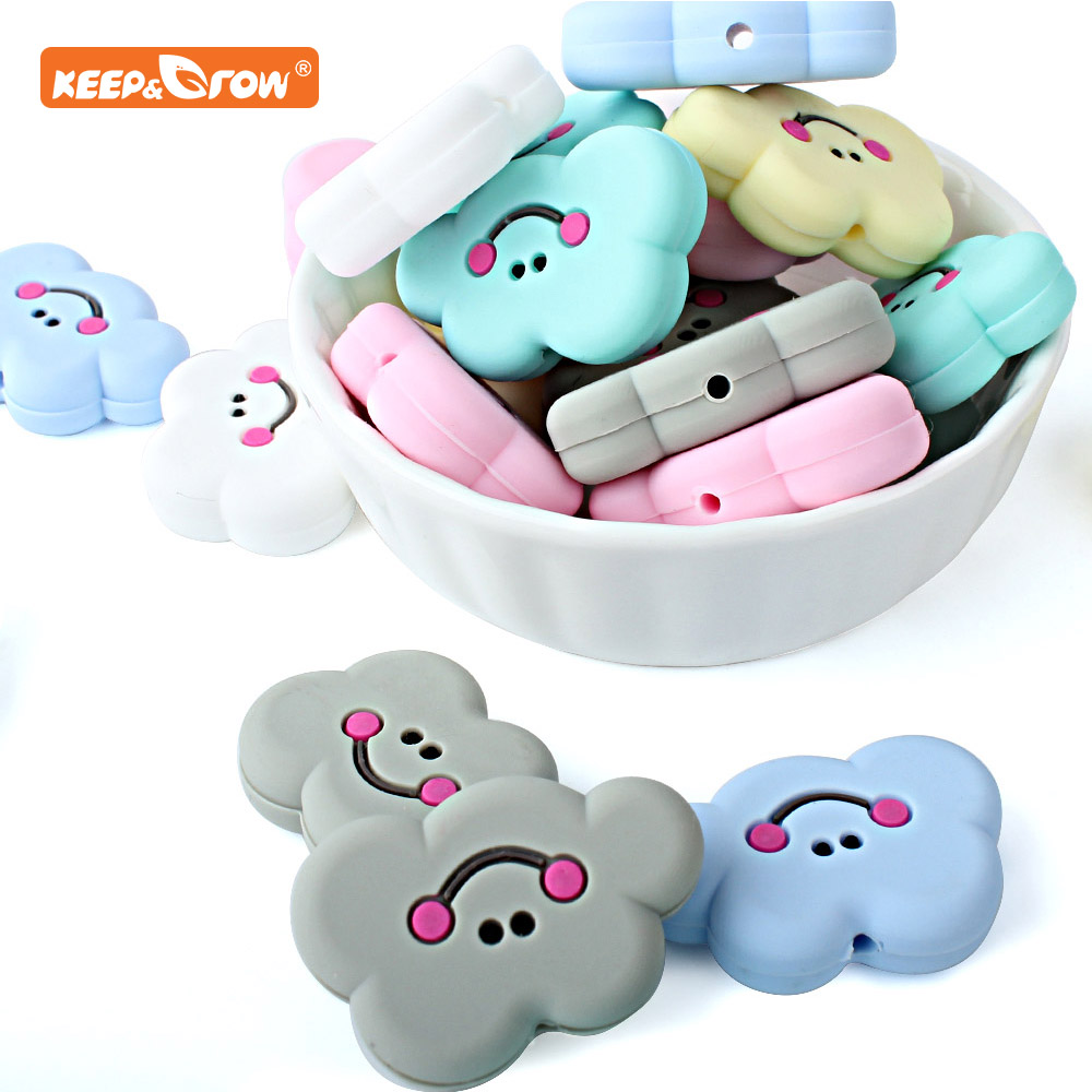 Keep&grow 10pcs Cloud Silicone Beads Baby Teether Necklace DIY Making Animal Food Grade BPA Free Rodent Accessories