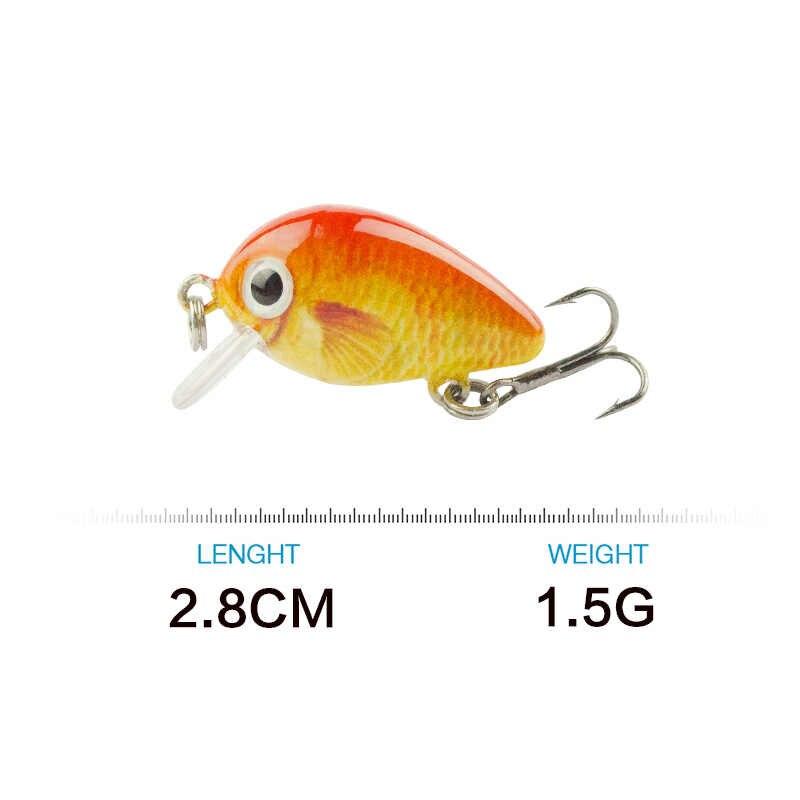 2.8cm Mini Crankbait Fishing Lure 1.5g Realist fałszywe ryby pływające przynęty Wobbler Tackle pesca 15 kolor