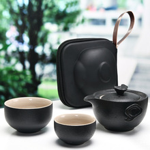 цена на Chinese Travel Kung Fu Tea Set Black Color Ceramic Portable Teapot Porcelain Tea Gaiwan Cups of Tea Ceremony Pot Free shipping
