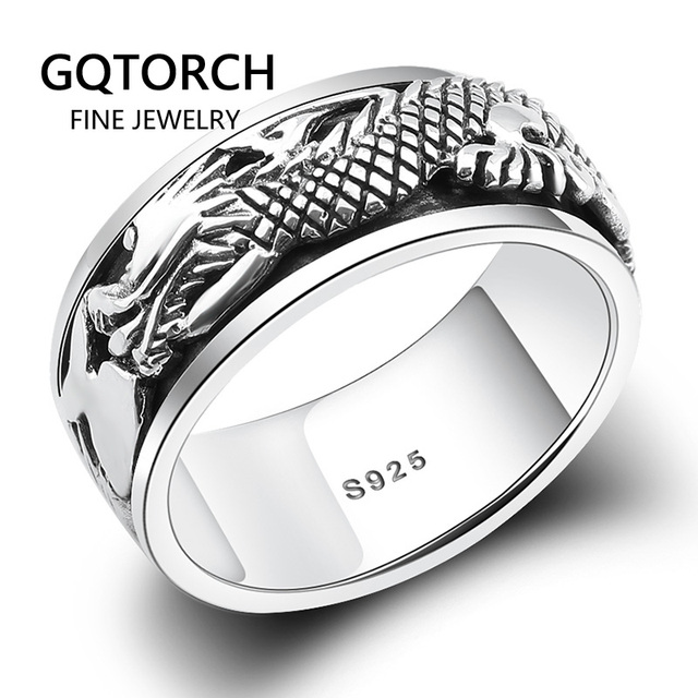 $ US $22.64 Real Pure 925 Sterling Silver Dragon Rings For Men Rotatable Transfer Luck Vintage Punk Retro Style Anel Masculino Aneis