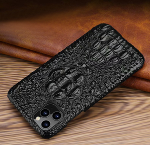 Image 4 - Genuine Leather Case For iPhone 11 Pro Max Back Case Ckhb op Luxury Croc Head Phone Bag Cover For iPhone 11Pro Max Case