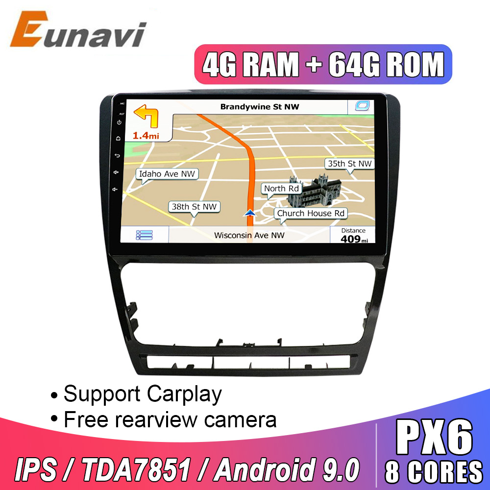 Eunavi 2 din Android 9,0 8 CORE Auto Radio stereo multimedia Für Skoda Octavia 2014 2015 A7 GPS Navigation 9 zoll IPS TDA7851 RDS