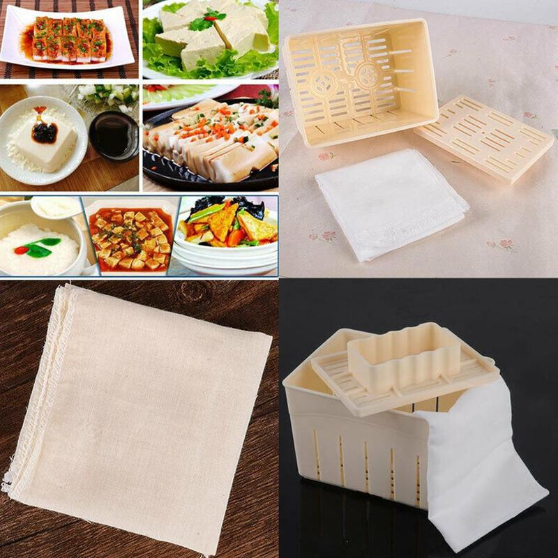 2019 Tofu Making Machine Set Diy <font><b>Plastic</b></font> Homemade Tofu Maker Press Mold Kit Soy Pressing <font><b>Mould</b></font> With <font><b>Cheese</b></font> Cloth image
