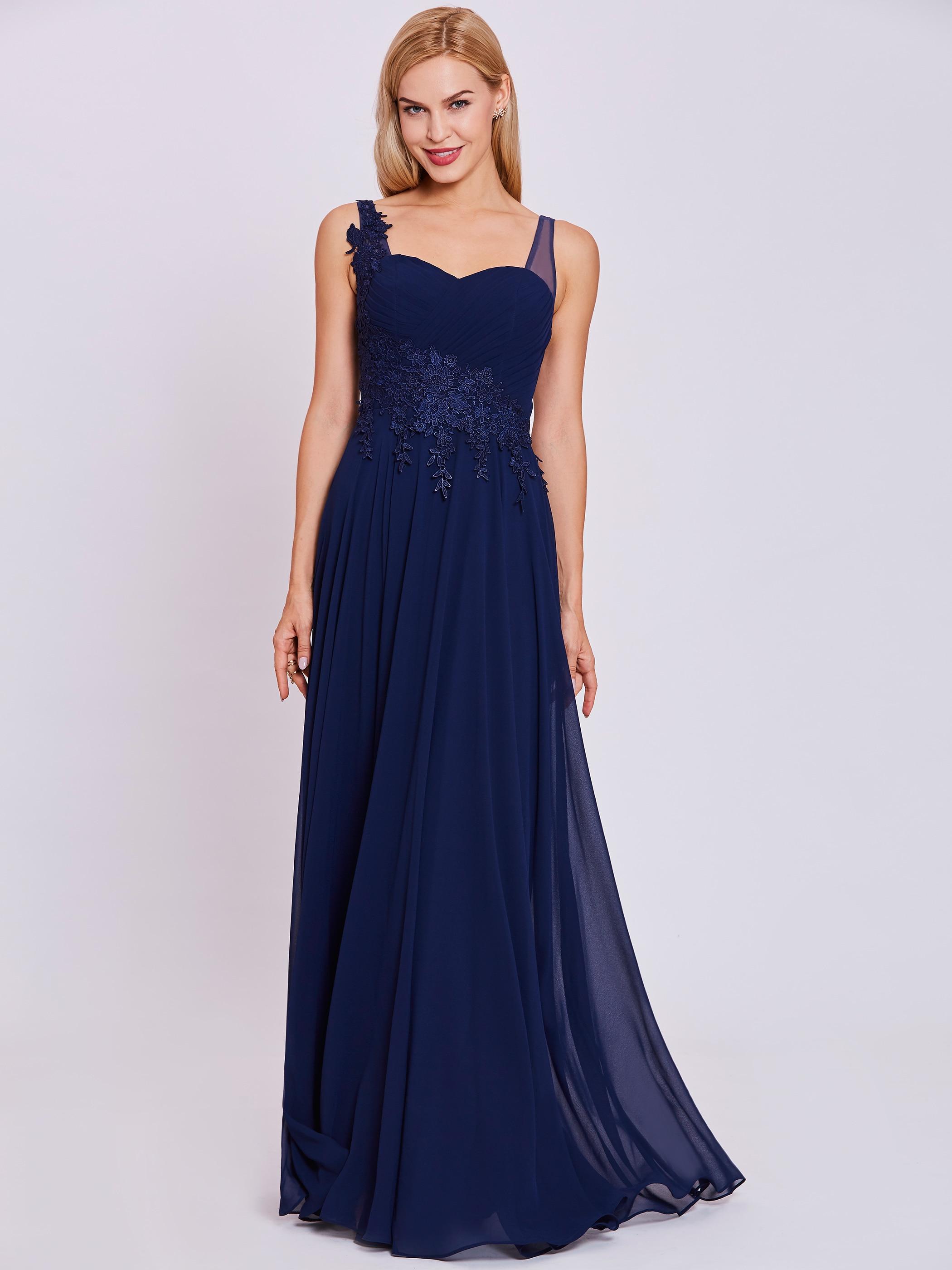 Dressv Straps Evening Dress Dark Royal Blue Sleeveless Floor Length A Line Gown Cheap Women Appliques Formal Long Evening Dress