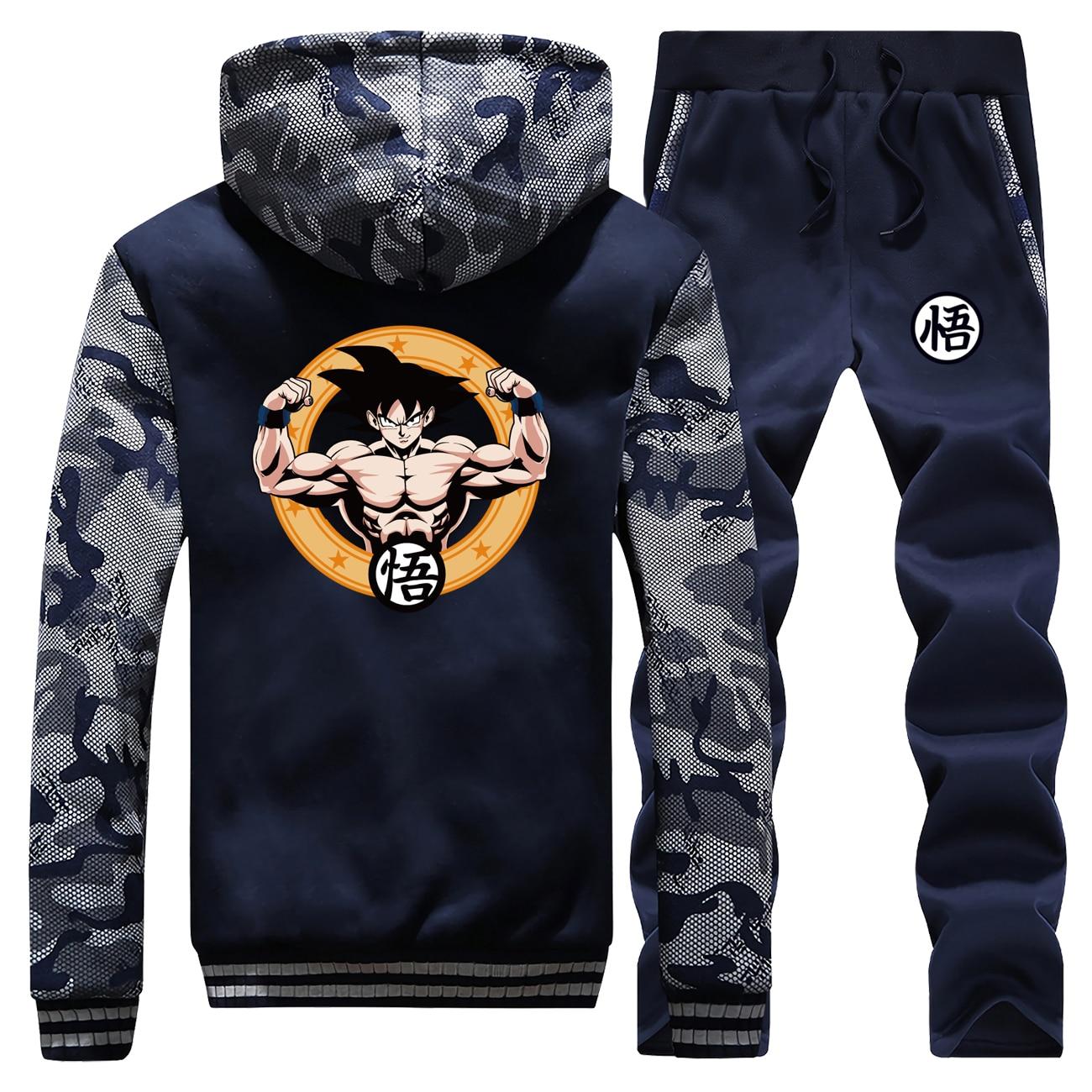 Fashion Japane Anime Dragon Ball Saiyan Men Camo Sweatshirt Hoodies Men's Hoodies+Pants Sets Winter Fleece Sportswear Sweatpants