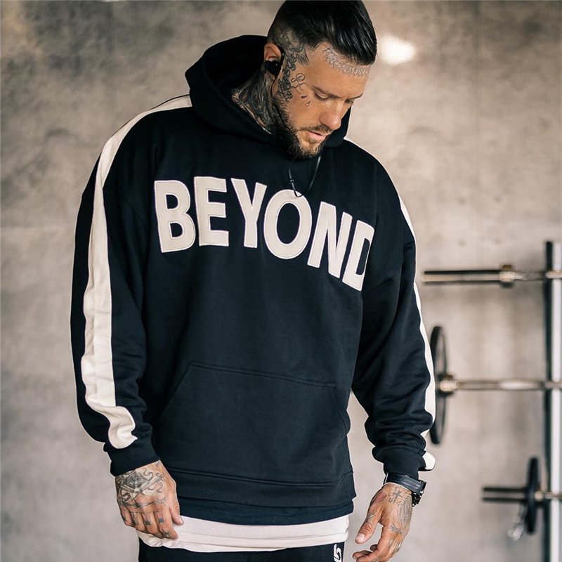 Autumn Mens Skinny Hoodies Sweatshirts Male Gyms Fitness Bodybuilding Joggers Sportswear Casual Fashion Cotton Stitching Jacket